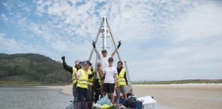 O equipo do proxecto Paleopark, na Lagoa dos Nenos das illas Cíes.