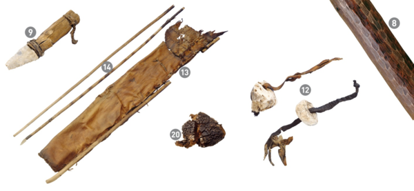 Utensilios de Ötzi. De esquerda a dereita, daga de pedra, arcos, funda de frechas de coiro, fungo yesca, fungo de bidueiro e cortiza de bidueiro. / Institute for Mummies and the Iceman.