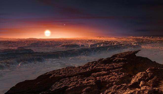 Recreación artística do planeta Proxima b.