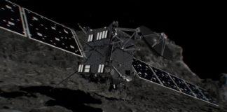 Recreación da ESA da colisión da sonda Rosetta co cometa Churi.