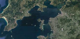 Vista satelital da ría de Arousa.