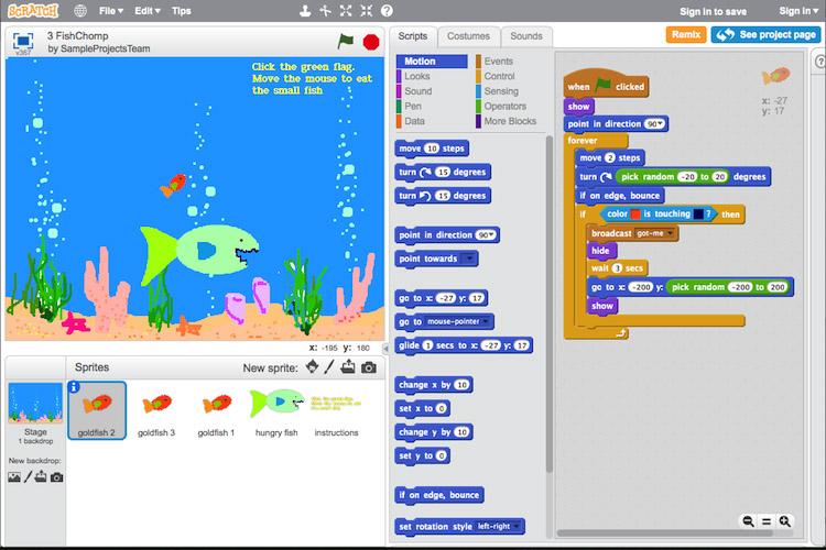 A ferramenta 'Scratch' introduce aos cativos nos conceptos básicos da programación.