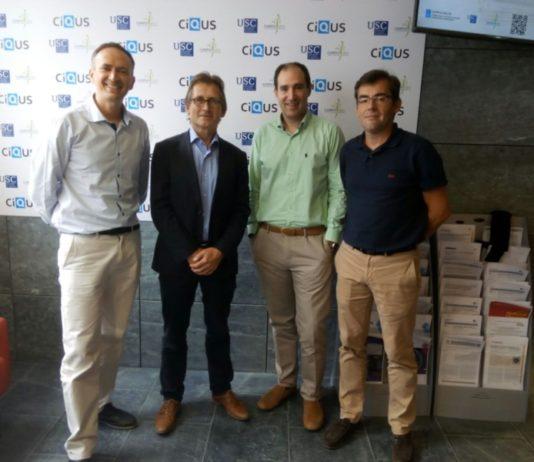 Diego Peña, Ben Feringa, Martín Fañanás e Fernando López, nunha visita do Nobel ao CiQUS.