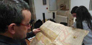 Planos da cidade de Mondoñedo atopados na investigación da USC.