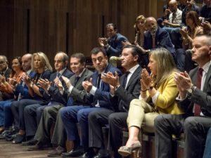 Autoridades asistentes á entrega dos II Premios Galicia Spin-off, na fundación Barrié en Vigo.