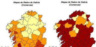 Mapas do gas radón en Galicia.
