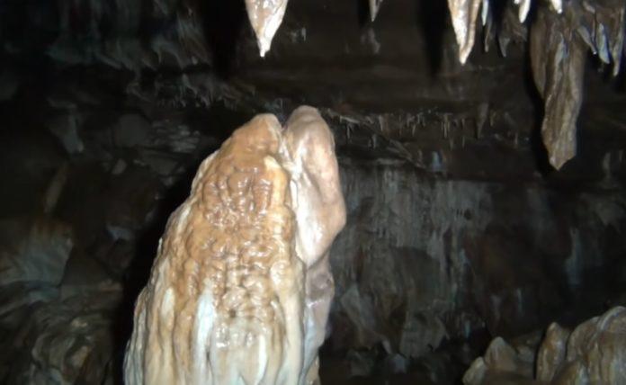 Estalagmitas e estalactitas nunha das galerías da cova Arcoia, no Courel.