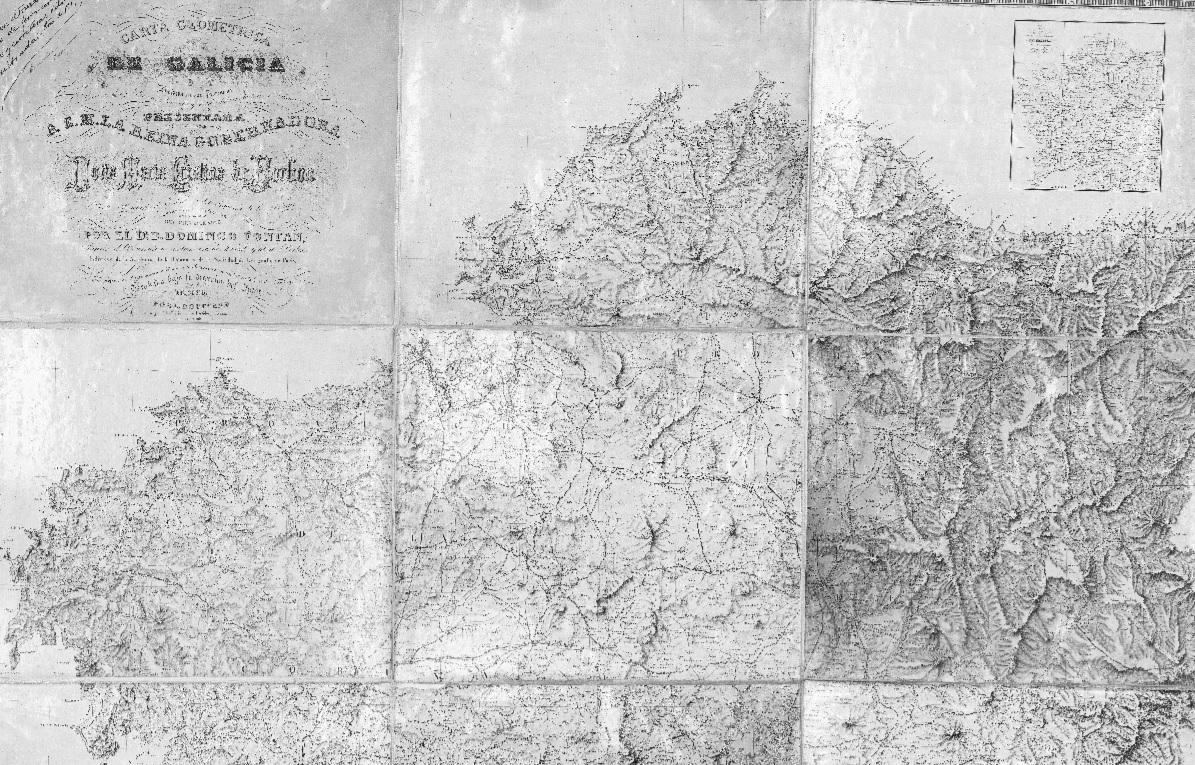 Carta xeométrica actualizada no 1917, coas estradas xa existentes nese momento.