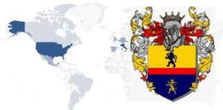 Mapa da distribución mundial dos Carallo e o seu escudo de armas.