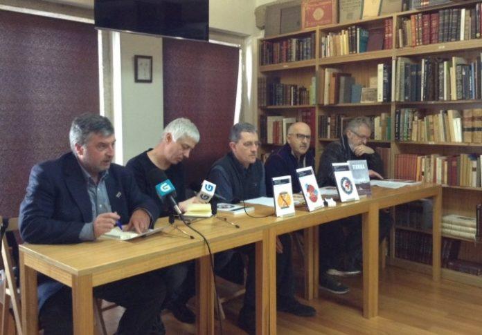 Bragado, Mariño, Soutullo, Labranha e Vázquez, na presentación da colección. Foto: Xerais.