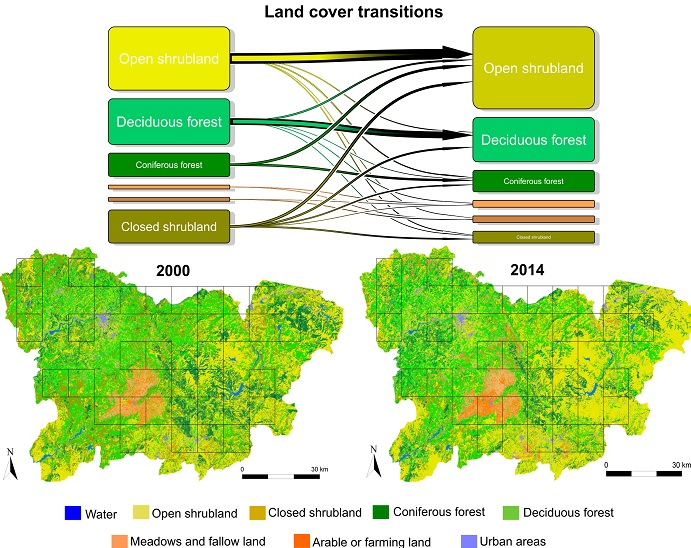 Mapa que evidencia o retroceso do mato (en ocre) e os bosques de coníferas (en verde oscuro) entre 2000 e 2014 na provincia de Ourense. Fonte: Diagrama de transicións nas coberturas dos usos do solo no períod0 2000 vs 2014 na provincial de Ourense (Fonte Tapia, L. Regos, A. Gil-carrera, A. & Domínguez, J. 2017. Unravelling the response of diurnal raptors to land-use change in a highly dynamic landscape in Northwestern Spain: an approach based on satellite earth observation data. European Journal of Wildlife Research.
