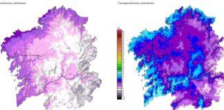 As mínimas (mapa da esquerda) baixarán ata menos dos 2ºC en todo o interior do país.
