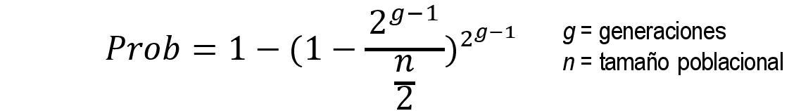 Fórmula para o cálculo da probabilidade de consanguinidade.
