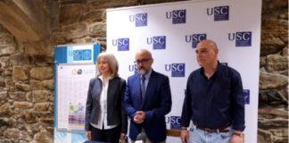 Katerina Vlasakova, Roberto López e Pablo Sampedro, na presentación dos cursos. Foto: USC