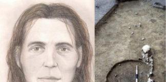 Reconstrución do rostro de Elba, e restos humanos atopados en Rumanía. / Serrulla, F., and Sanín, M. (2017) / Clive Bonsall.