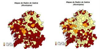 Porcentaxes de medicións nos concellos de Galicia por riba dos 200 bq/m3 (esquerda) e 300 bq/m3 (dereita). Imaxe: USC.