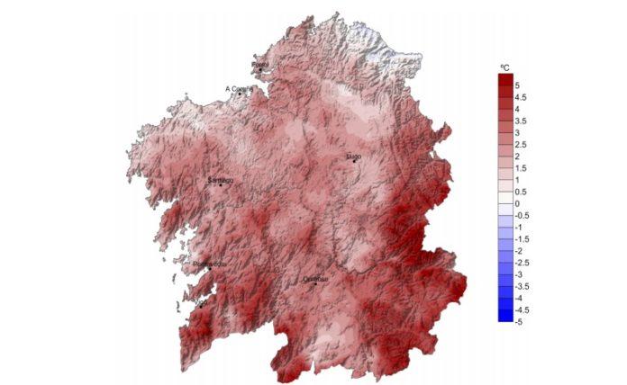 As montañas do leste de Lugo e Ourense rexistraron temperaturas de ata 4ºC por riba da media. Fonte: Meteogalicia.