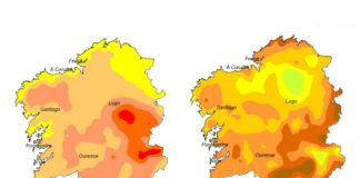 Mapa das anomalías de temperatura e precipitacións rexistradas en Galicia entre marzo e maio. Fonte: Aemet.