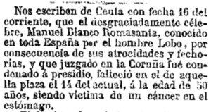 "Noticia da morte de Romasanta no xornal ""La Correspondencia de España"", no día 21-12-1863. Fonte: Biblioteca Nacional de España / Arquivo Castro Vicente."