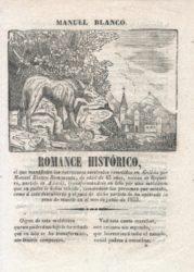 Único exemplar conservado dun romance popular sobre a historia de Romasanta. Imaxe: Arquivo Castro Vicente.
