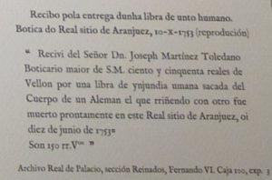 Recibo dun pago por unto humano. Fonte: Arquivo Castro Vicente.
