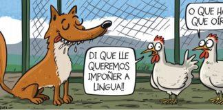 Tira de xullo de Luis Davila. Fonte: Servizo de Normalización Lingüística da UVigo.