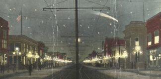 Ilustración co paso do Halley sobre a cidade de Gary, en Indiana (EUA) no 1910.