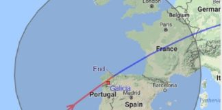 Paso da Estación Espacial esta noite sobre Galicia. En vermello, o momento no que será visible, entre as 21.59 e as 22.02. Fonte: ISS.Astroviewer.
