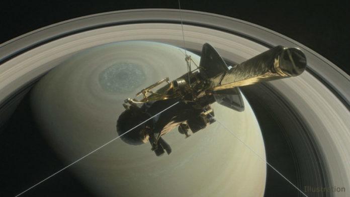 Ilustración da primeira inmersión de Cassini no hemisferio norte de Saturno, en abril deste ano. Fonte: NASA.
