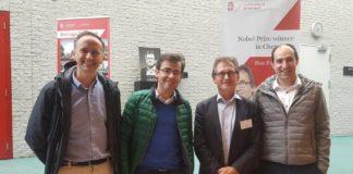 De esquerda a dereita, Diego Peña, Fernando López, Ben Feringa e Martín Fañanás. Imaxe: CiQUS.
