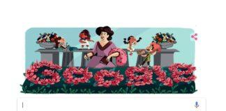 Cabeceira de Google coa ilustración de Emilia Pardo Bazán.
