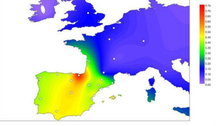 Frecuencias da variante R1b-DF27 nas rexións de Europa. Fonte: UPF.