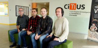 Os membros do Programa de e-Saúde do CiTIUS, de esquerda a dereita, Paulo Félix, Tomás Teijeiro, Constantino García e Daniel Castro. Foto: Andrés Ruiz / CiTIUS