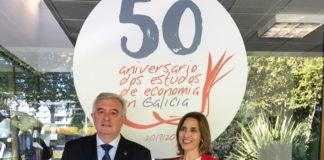 O reitor da USC, Juan Viaño, e a decana da facultade, Emilia Vázquez. Foto: USC.