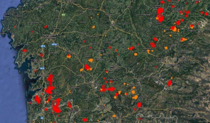 Reconto de focos activos rexistrados polo Effis. En vermello, os das últimas 24 horas, e en laranxa, o dos últimos sete días. Fonte: Effis.