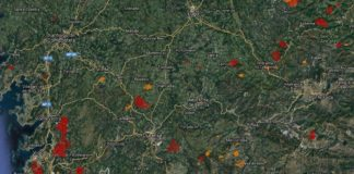 Os satélites que seguen os lumes activos nas últimas horas amosan milleiros de hectáreas afectadas. Fonte: Effis.