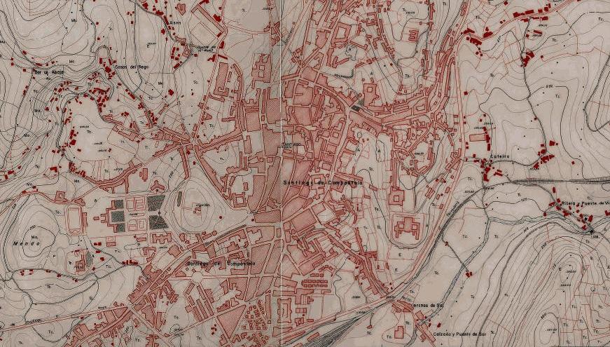 Cartografía de Santiago en 1968, un dos documentos que se pode consultar na web. Fonte: Xeoportal.