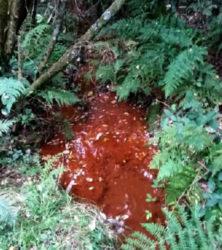 Curso de auga afectado polas filtracións da antiga mina.