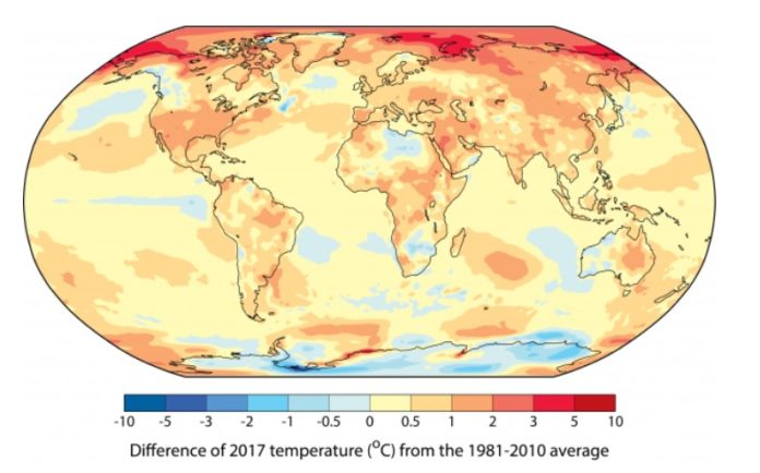 Diferenzas de temperatura de 2017 respecto á media 1981-2010. Fonte: WMO.