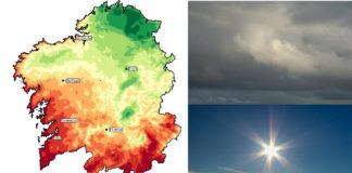 As zonas en vermello son as máis solleiras, mentres que as verdes son as máis anubradas. Gráfico: Dominic Royé.