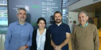De dereita a esquerda, Francisco González, Peter Janssen, Carmen Romero e o profesor da UDC Casto Rivadulla. Foto: USC.