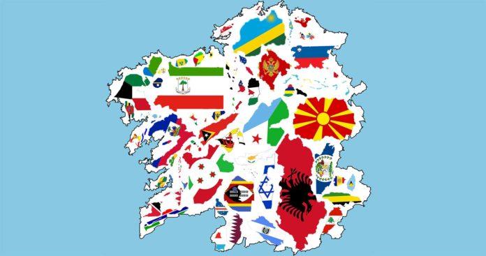 NOTA: O tamaño dos países que se representa no mapa non é o real. Adaptouse a escala para incluír á maior cantidade posible de territorios na imaxe. Fonte: Elaboración propia.