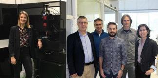 María Aymerich, gañadora na categoría de investigadores mozos, e o equipo da UDC premiado polo seu innovador sistema de refrixeración. Imaxes: RAGC.