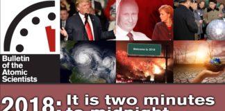 """A crise nuclear en Corea do Norte, a actitude do goberno de Trump respecto ao cambio climático e a inxerencia de Rusia en asuntos internacionais preocupan aos científicos atómicos. Fonte: """"The Bulletin of the Atomic Scientists""""."""