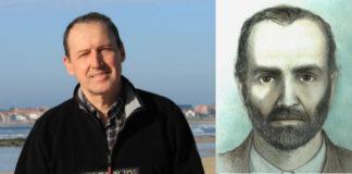 O forense Fernando Serrulla, e o retrato de Romasanta que realizou xunto a Marga Sanín.