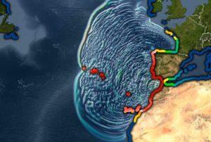 Simulación do tsunami xerado polo sismo. Fonte: noaa.gov.