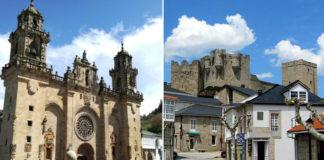 Dúas recoñecibles paisaxes das vilas de Mondoñedo e Castro Caldelas: a catedral e o castelo.