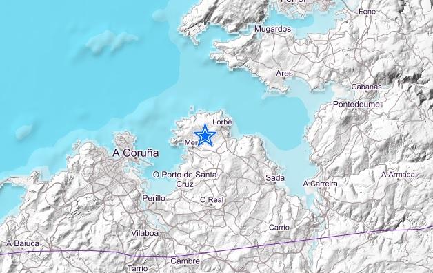 Epicentro do terremoto, no municipio de Oleiros. Fonte: IGN.