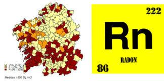 Mapa do radon elaborado pola USC que amosa as porcentaxes de vivendas con niveis superiores a 300 bq/m3 segundo o concello no que se realizou a medición.