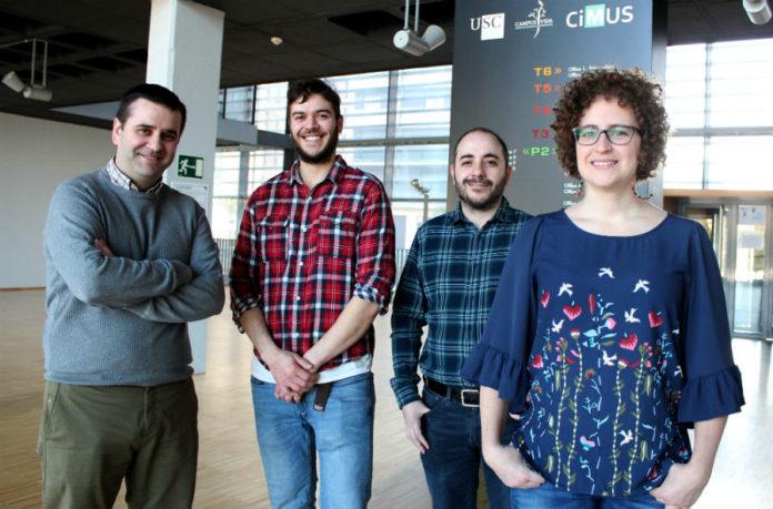Os autores do estudo sobre a proteína TET2: Diana Guallar xunto a, de esquerda a dereita, Miguel González-Blanco, José Ángel Pardavila e Miguel Fidalgo. Foto: Andrés Ruiz - CiMUS.
